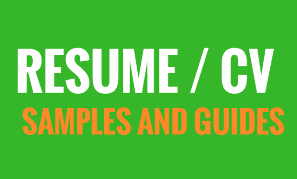Sample job application Resume, CV, template and a guide of how to write one