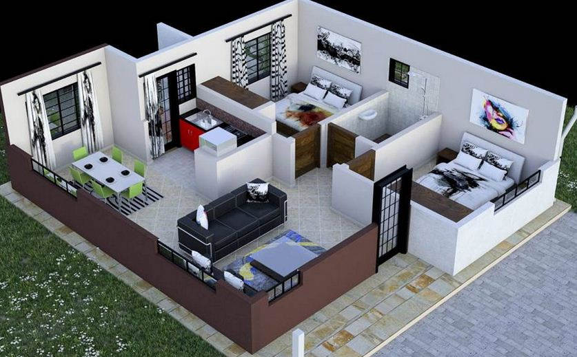 2 Bedroom House Plan In Kenya With Floor Plans on elegant modern villa design