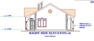 beautiful 3 bedroom house plan in Kenya, right side elevation
