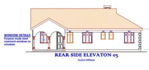 Beautiful 3 bedroom house plan in Kenya, rear side elevation
