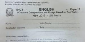 KCSE 2017 English Paper 3 past paper