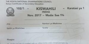 Kiswahili Paper 1 KCSE past paper