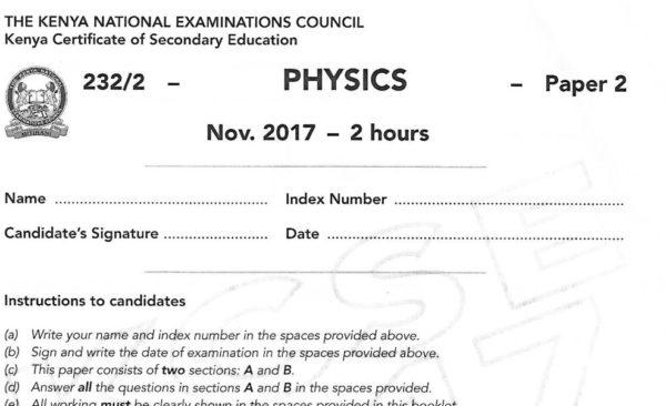 Physics Paper 2 2017 KCSE past paper